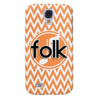Folk Music Orange and White Chevron Galaxy S4 Cover