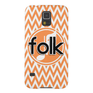 Folk Music Orange and White Chevron Galaxy S5 Covers