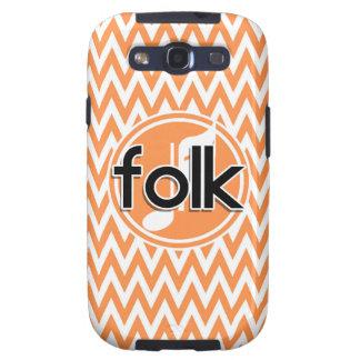 Folk Music Orange and White Chevron Samsung Galaxy S3 Covers