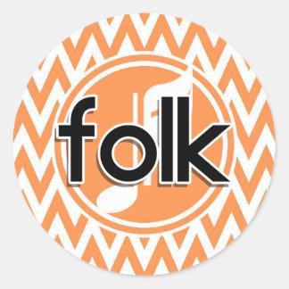 Folk Music; Orange and White Chevron Round Sticker
