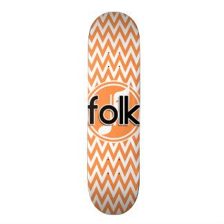 Folk Music; Orange and White Chevron Skate Decks