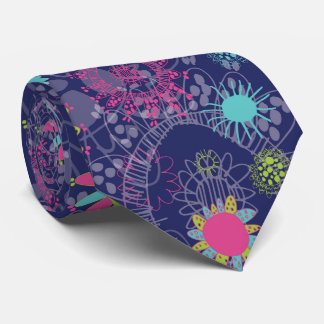Folk purple and turquoise tie
