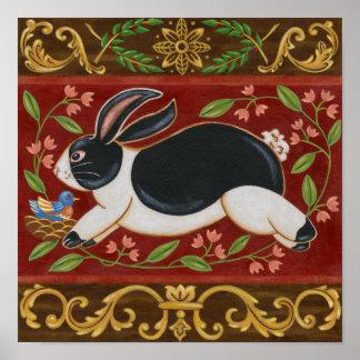 Folk Rabbit Poster