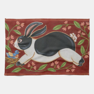 Folk Rabbit Tea Towel