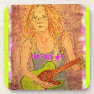 folk rock girl art coasters