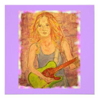 folk rock girl playin' electric 13 cm x 13 cm square invitation card