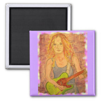 folk rock girl playin' electric coloured edges square magnet