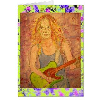 folk rock girl playin' electric drip card