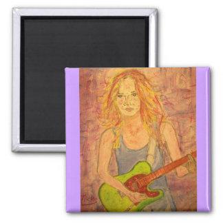 folk rock girl playin' electric square magnet