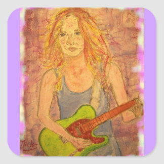folk rock girl playin' electric square sticker