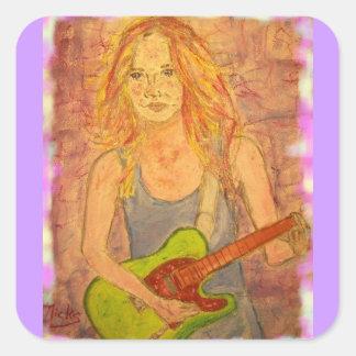 folk rock girl playin' electric square sticker