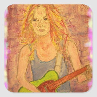 folk rock girl playin' electric up close square sticker