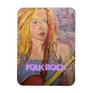 folk rock girl reflections rectangular photo magnet