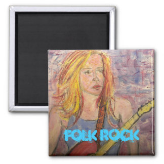 folk rock girl reflections square magnet