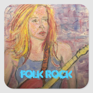 folk rock girl reflections square sticker