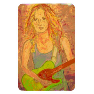 folk rock girl screenprint rectangular photo magnet
