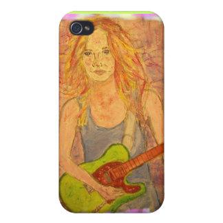 folk rock girl watercolour iPhone 4 cases