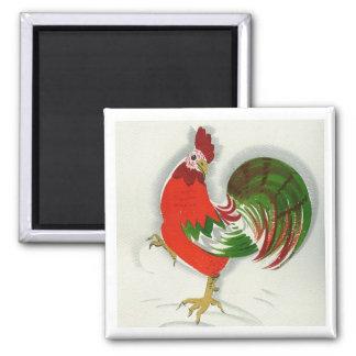 Folk Rooster #1 Square Magnet