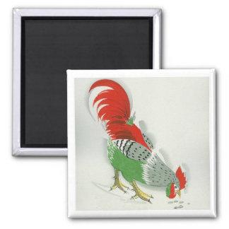 Folk Rooster #2 Square Magnet