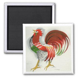 Folk Rooster #4 Square Magnet