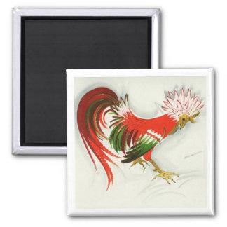 Folk Rooster #5 Square Magnet