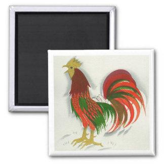 Folk Rooster #7 Square Magnet