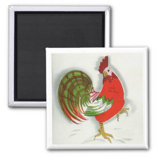 Folk Rooster #8 Square Magnet
