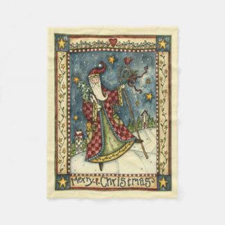 Folk Santa Christmas Fleece Blanket