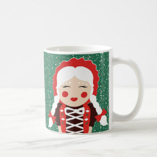 Folk Santa Mrs. Claus Snowy Happy Holidays Mug