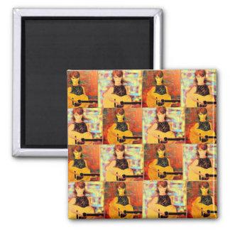 folk singer collage square magnet
