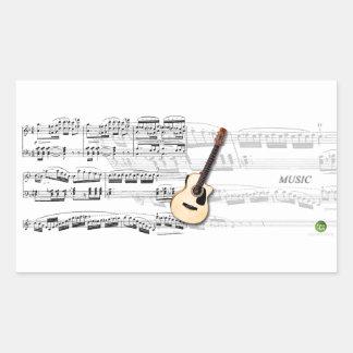 Folk Violão Rectangular Sticker