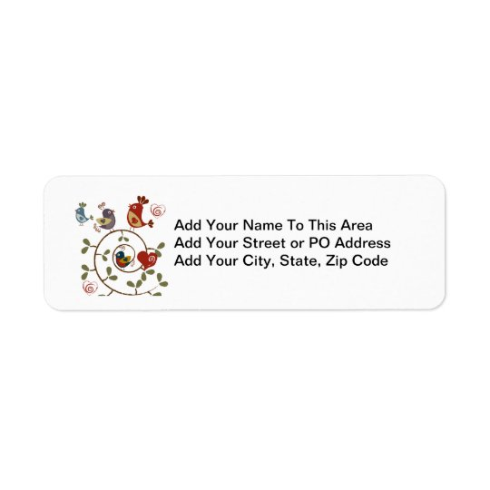 Folkart Birds Return Address Label