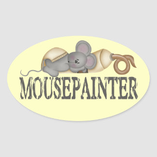 Folkart Mouse and Painttube Oval Sticker