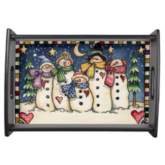 FolkArt Snowman Family Starry Night Serving Tray