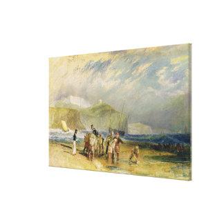 Folkestone Harbour and Coast to Devon, c.1830 (w/c Canvas Print