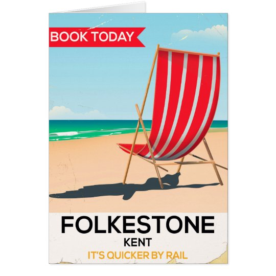 Folkestone Kent vintage seaside poster Card