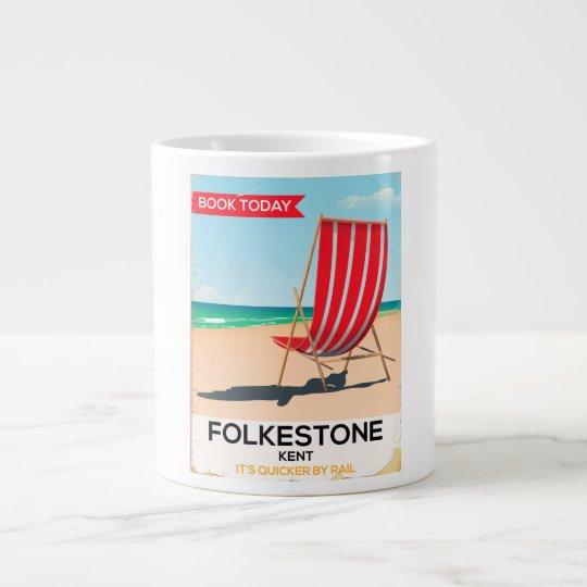 Folkestone Kent vintage seaside poster Large Coffee Mug