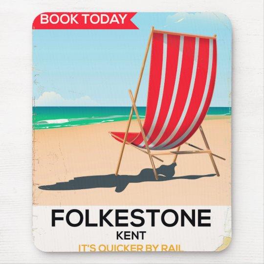 Folkestone Kent vintage seaside poster Mouse Mat