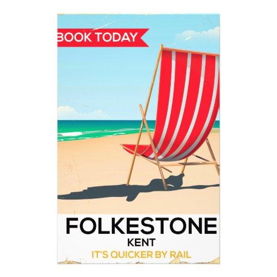 Folkestone Kent vintage seaside poster Stationery