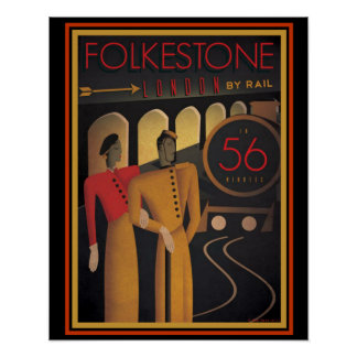 Folkestone London by Rail  Art Deco Poster 16 x 20