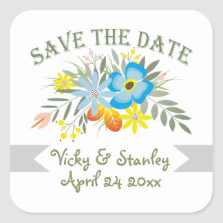 Folklore blue flowers floral wedding Save the Date Square Sticker