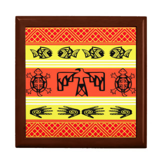 Folklore design large square gift box