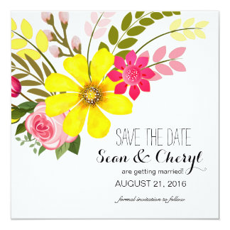Folklore Flower Garden Save the Date 13 Cm X 13 Cm Square Invitation Card