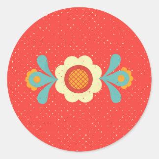 Folklore Flower Round Sticker