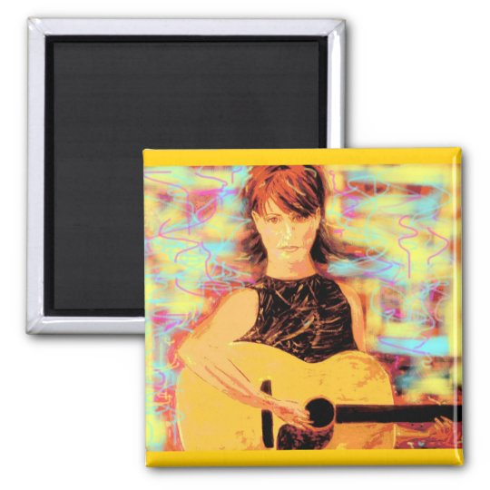 folksinger girl (yellow brown) square magnet