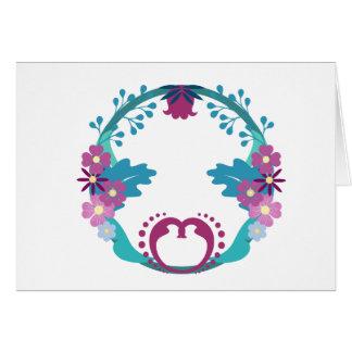 Folksy Floral Wreath Card
