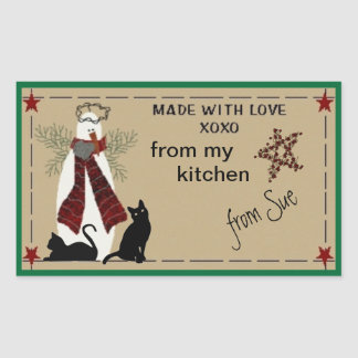 Folksy Snowman and Cats Treat Labels Rectangular Sticker