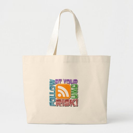 Follow At Your Own Risk! RSS Icon Button Design Canvas Bag