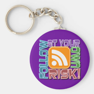Follow At Your Own Risk RSS Icon Button Design Keychains