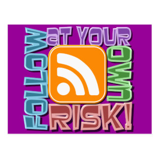 Follow At Your Own Risk! RSS Icon Button Design Postcard